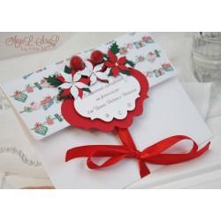 """Новогодний подарочный сертификат в конверте """"Пуансеттия"""""""