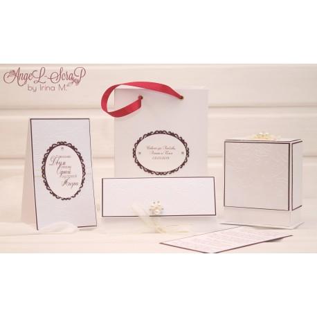 Свадебный подарочный комплект: коробочка, конверт для денег, открытка, пакет