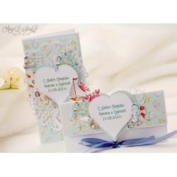 Свадебная открытка и конверт в морском стиле